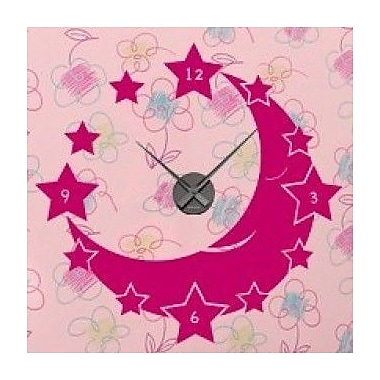 Style and Apply Moon and Stars Wall Clock Wall Decal; Dark Red