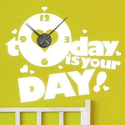 Style and Apply Today is your Day Wall Clock Wall Decal; White