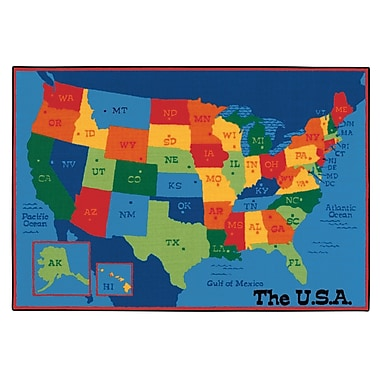 Carpets for Kids Value Plus USA Map Tufted Area Rug; 6' x 9'
