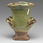 AA Importing Ceramic Urn Planter; Distressed Green