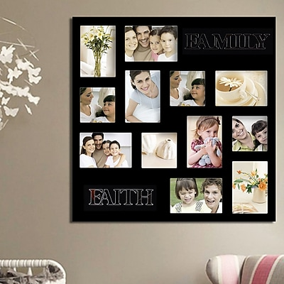 AdecoTrading 12 Opening Decorative ''Faith and Family'' Wall Hanging Collage Picture Frame; Black WYF078278645916