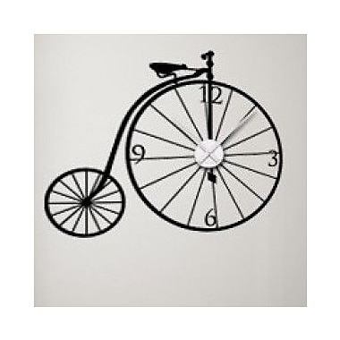 Style and Apply Bicycle Wall Clock Wall Decal; Orange