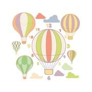 Style and Apply Hot Air Balloons Wall Clock Wall Decal