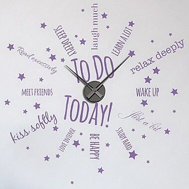 Style and Apply To Do Today Wall Clock Wall Decal; Violet