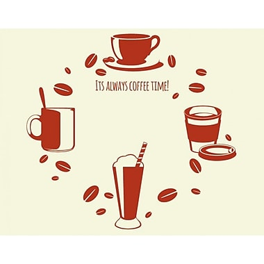 Style and Apply Coffee Time Wall Clock Wall Decal; Dark Red