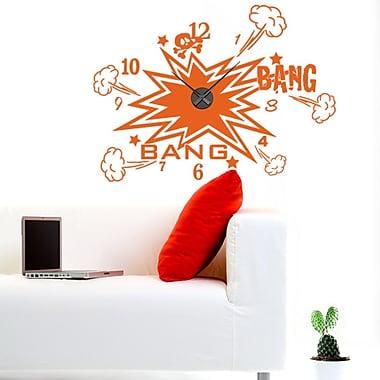 Style and Apply Bang Bang Wall Clock Wall Decal; Orange
