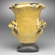 AA Importing Ceramic Urn Planter; Distressed Yellow