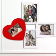 AdecoTrading 4 Opening Decorative Wall Hanging Collage Picture Frame; White/Red