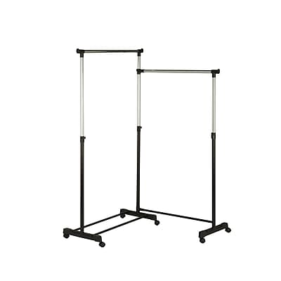 Honey Can Do Dual Bar Corner Garment Rack, Chrome/Black (GAR-03752)