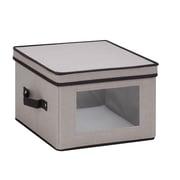 Honey Can Do Dinnerware Storage Box, dinner plates, Gray Canvas (SFT-05375)