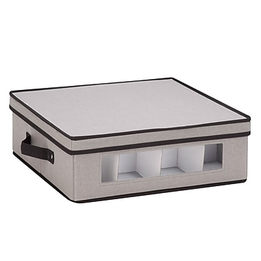 Honey Can Do Dinnerware Storage Box, cups, Gray Canvas (SFT-05377)