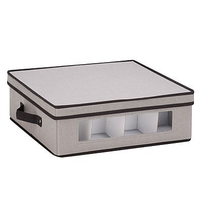 Honey Can Do Dinnerware Storage Box, cups, Gray Canvas (SFT-05377)