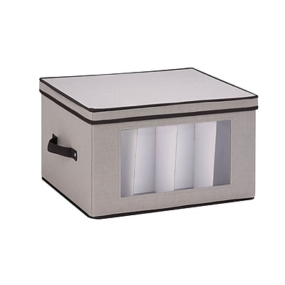 Honey Can Do Dinnerware Storage Box, goblet style wine glasses, Gray Canvas (SFT-05381)