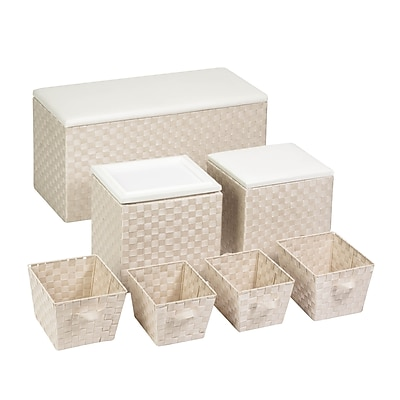 Honey Can Do Ottoman Storage Kit with Baskets, white woven strap (STO-04120)