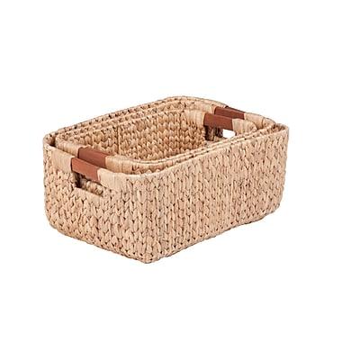 Honey Can Do Rectangular Water Hyacinth Basket Set, natural (STO-04465)