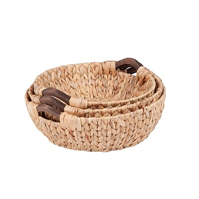 Honey Can Do Circular Water Hyacinth Basket Set, natural (STO-04469)