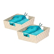 Honey Can Do 2 Pack Double Woven Shelf Tote, Creme (STOZ02984)