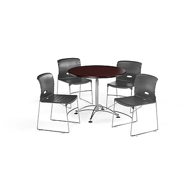 OFM – Table ronde et polyvalente de 36 po en stratifié acajou avec 4 chaises gris foncé (845123066447)