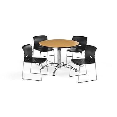 OFM – Table ronde et polyvalente de 42 po en stratifié chêne avec 4 chaises noires (845123069042)