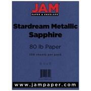 "JAM Paper® Metallic Paper - 8.5"" x 11"" - 32lb Sapphire Blue Stardream Metallic - 100/pack"