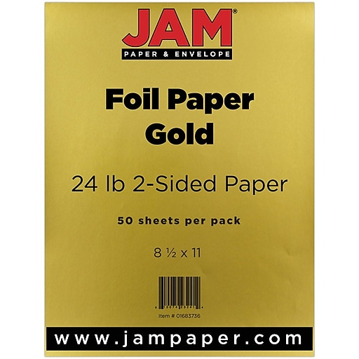 JAM Paper® Foil 24lb 2-Sided Paper, 8 5 x 11, Gold, 50 Sheets/Pack (1683736)