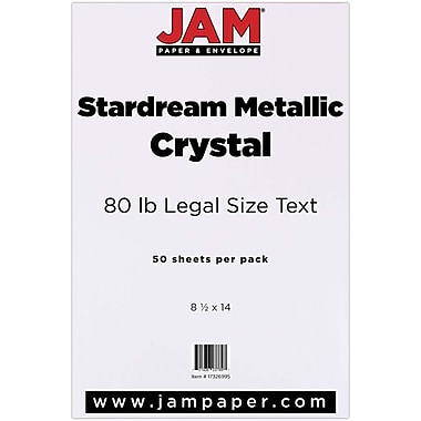 JAM Paper® Metallic Legal Paper, 8.5 x 14, 80lb Stardream Crystal White, 50/Pack (17326995)