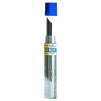 Pentel Colored Lead Refills blue 0.7 mm tube of 12 [Pack of 24]