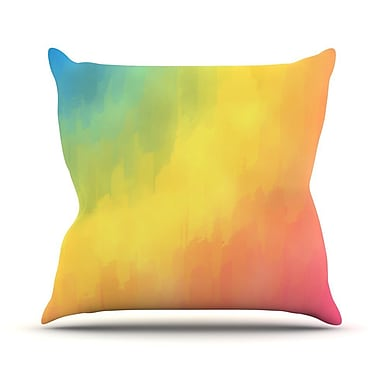 KESS InHouse Watercolor Layers by Fotios Pavlopoulos Rainbow Throw Pillow; 16'' H x 16'' W x 1'' D
