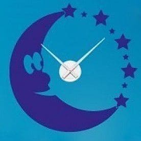 Style and Apply Moon Wall Clock Wall Decal; Royal Blue
