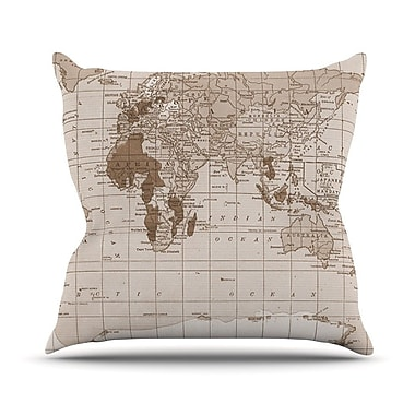 KESS InHouse Emerald World by Catherine Holcombe Vintage Map Throw Pillow; 16'' H x 16'' W x 1'' D