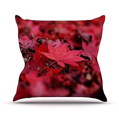 KESS InHouse Leaves by Angie Turner Maroon Leaf Throw Pillow; 20'' H x 20'' W x 1'' D