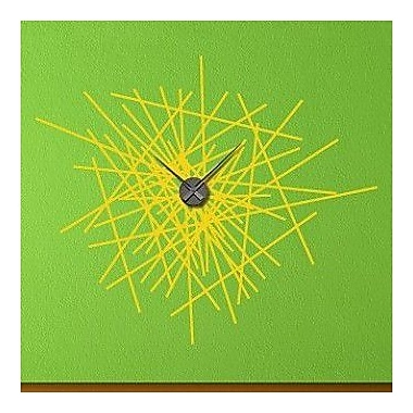 Style and Apply Abstract Wall Clock Wall Decal; Yellow