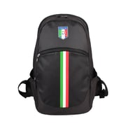 Federazione Italiana Giuoco Calcio Black Polyester Backpack, Vertical Stripe (FC1402-B)