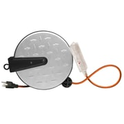 Designers Edge E215 16/3-Gauge 30-Foot Retractable Cord Reel with Grounded Lighted Triple Tap, Diamond Plated