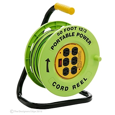 Designers Edge E238 12/3-Gauge 50-Foot Cord Reel Power Station with (6) Grounded Outlets, Black and Green