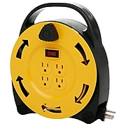 Designers Edge E231 16/3-Gauge 20-Foot Cord Reel Power Station with (6) Grounded Outlets, Black and Yellow