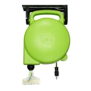 Designers Edge E316 14/3-Gauge 45-Foot Retractable Cord Reel with Grounded Light-Up Triple Tap, Green
