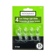 Moonrays 95529 18-Watt 12-Volt Wedge Base Replacement Light Bulb, 4-Pack, Clear Glass