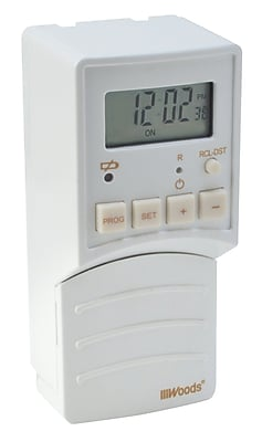 Woods 59744 Flip-Switch Battery Operated Digital Light Switch Timer, White