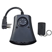 Woods 59746 Outdoor 3-Outlet Timer with Remote Control, Black