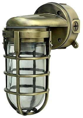 Woods L1707SVAB Traditional 100W Incandescent Weather Industrial Light, Wall Mount, Antique Brass