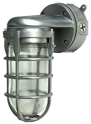 Woods L1707SVBS Traditional 100W Incandescent Weather Industrial Light, Wall Mount, Brushed Steel