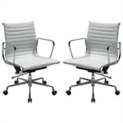 Manhattan Comfort  Ellwood Mid-Back Adjustable Office Chair in White- Set of 2 (MC-614-WH- B)