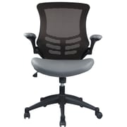 Manhattan Comfort Intrepid Leather Computer and Desk Office Chair, Adjustable Arms, Coffee/Gray (MC-621)