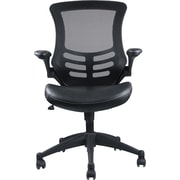 Manhattan Comfort Intrepid Leather Computer and Desk Office Chair, Adjustable Arms, Black (MC-622)