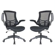 Manhattan Comfort Lenox Mesh Computer and Desk Office Chair, Adjustable Arms, Black (MC-623-B)