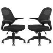 Manhattan Comfort Mercer Mesh Office Chair in Black- Set of 2 (MC- 625-B)