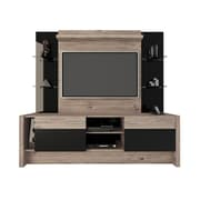 Manhattan Comfort Morning Side Freestanding Theater Entertainment Center in Nature and Black (22956)