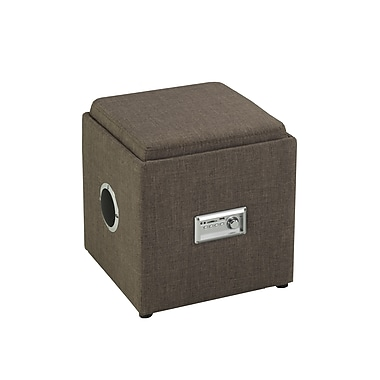 Brassex 583-BR Storage Ottoman with Reverse Tray and Audio, Brown, 16