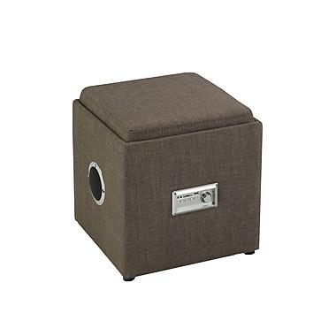 Brassex – Ottoman de rangement à plateau inversé et audio 583-BR, brun, 16 x 16 x 17,5 po